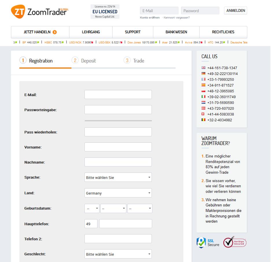 Um ein Livekonto bei ZoomTrader eröffnen zu können, muss der Trader ein solches Formular ausfüllen