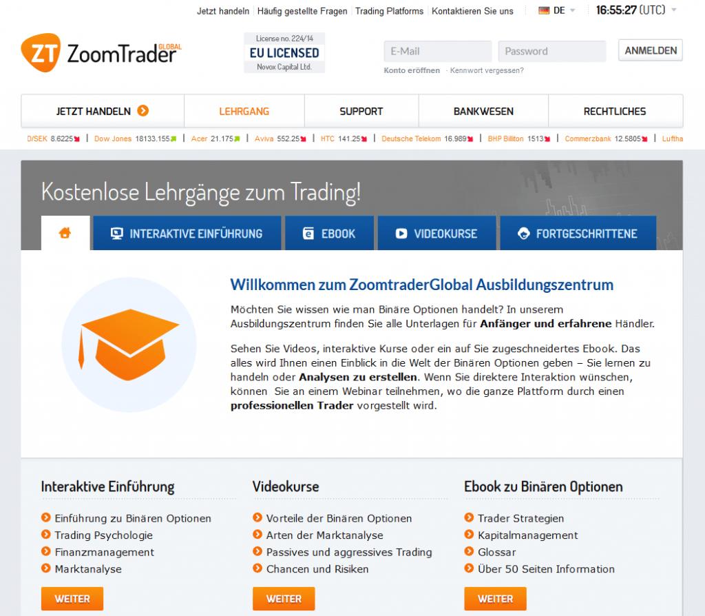 Zum Angebot von ZoomTrader gehört auch ein umfangreicher Bildungsbereich