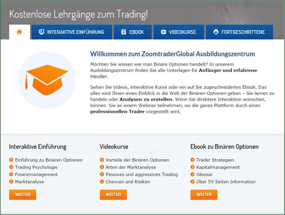 Das Ausbildungszentrum von ZoomTrader
