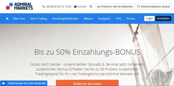Der Web-Auftritt von Admiral Markets