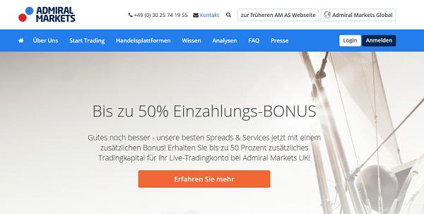 Die Webseite des Brokers Admiral Markets
