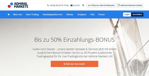 Sie Webseite des Brokers Admiral Markets