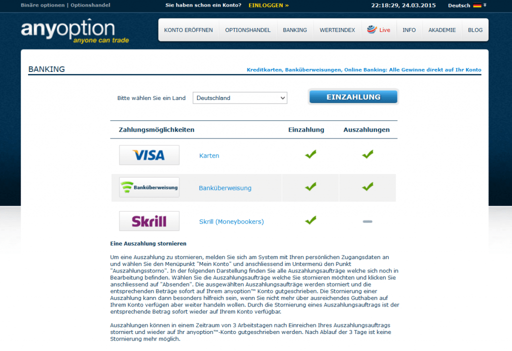 Auszahlungen sind per Banküberweisung und Kreditkarte möglich