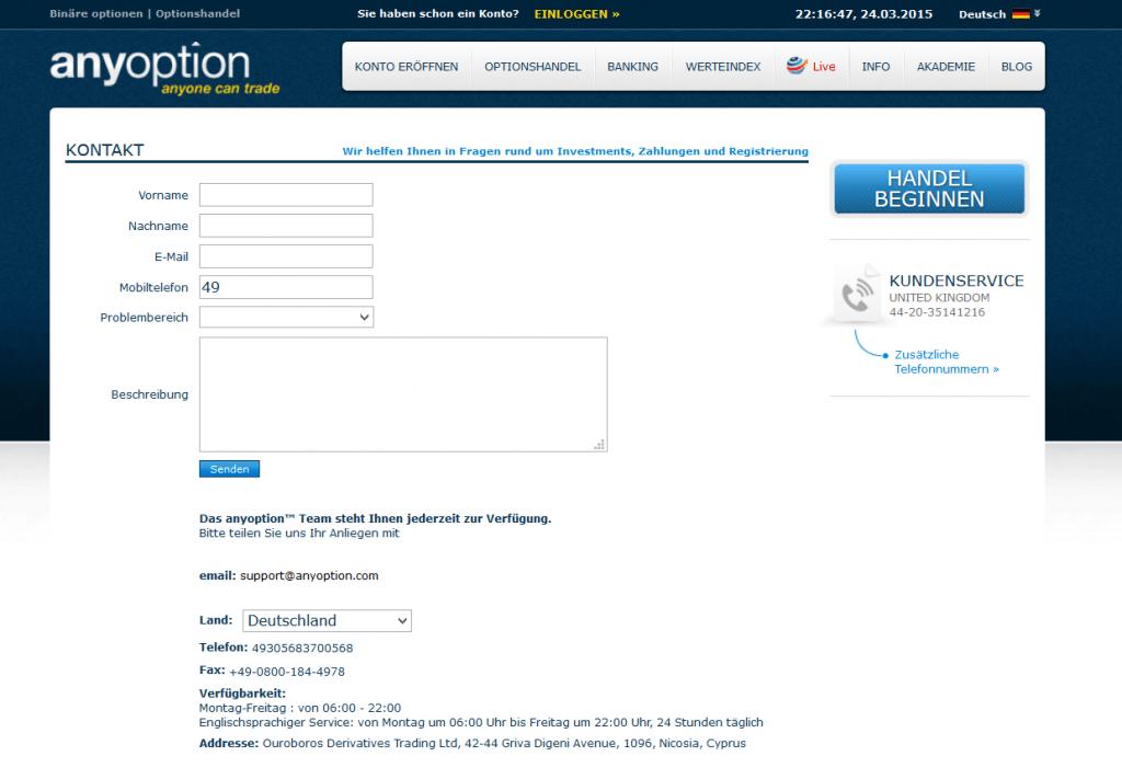 Um das anyoption Demokonto nutzen zu können, muss sich der Kunde an den Support wenden