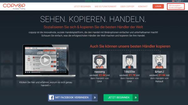 Zugang für anyoption-Kunden zur Copyop-Plattform