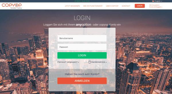 Das Login-Fenster für Trader von Copyop