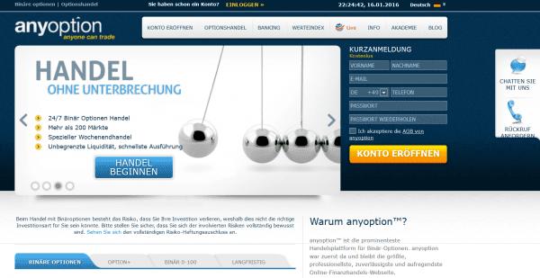 Informationen zum Angebot von anyoption