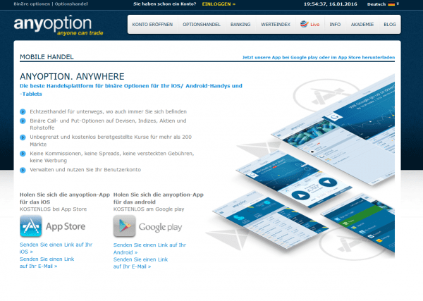 Mobile Trading Apps für iOS und Android bei anyoption