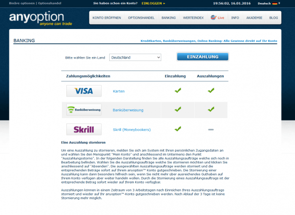 Ein- und Auszahlungsmethoden bei anyoption