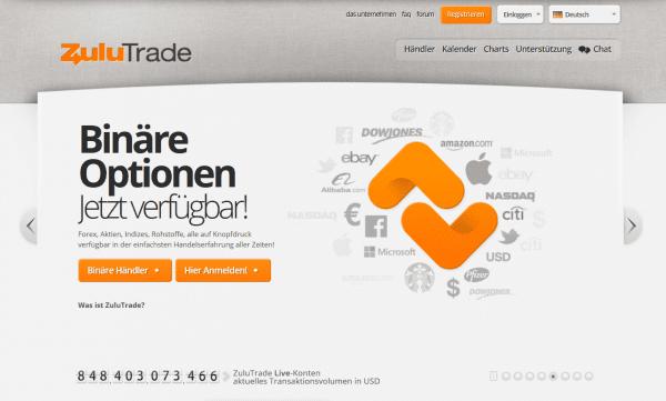 Binäre Optionen Social Trading ist auch bei ZuluTrade möglich