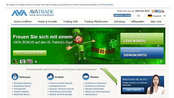 So sieht die Webseite von AvaTrade (ehemals AvaFX) aus