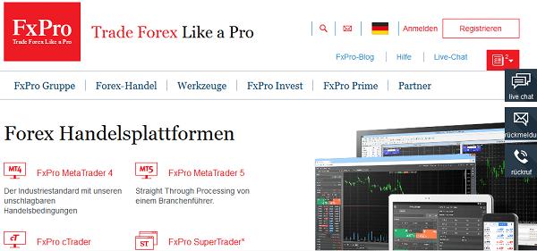 Homepage des Testsiegers FxPro