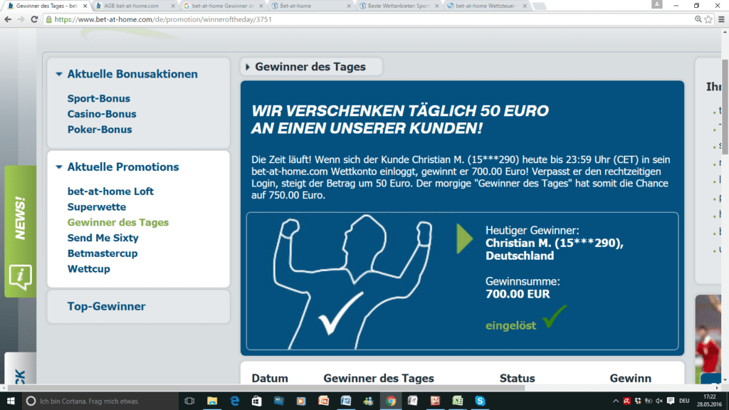 "bet-at-home ""Gewinner des Tages""-Bonus"