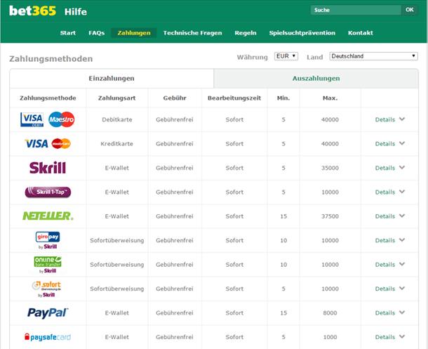 bet365 Zahlungsmethoden