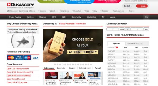 Die Website des Brokers Dukascopy