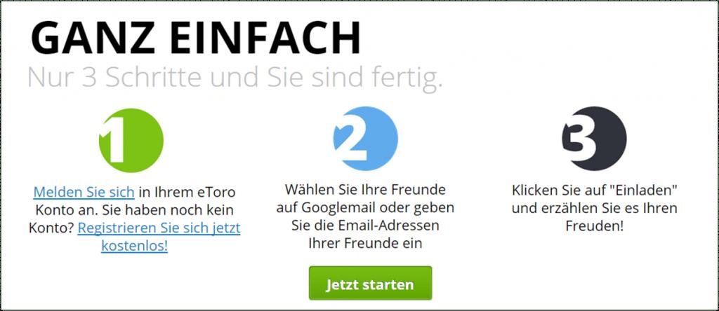 """Der Weg zum eToro """"Freunde werben Freunde"""" Bonus"""
