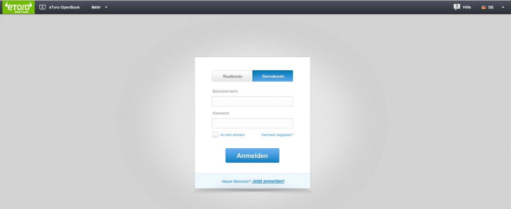 Demotrader können sich erst im WebTrader in ihr Demokonto einloggen