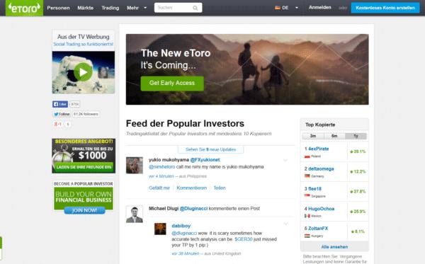 Das eToro OpenBook kann auch als Facebook für Trader bezeichnet werden