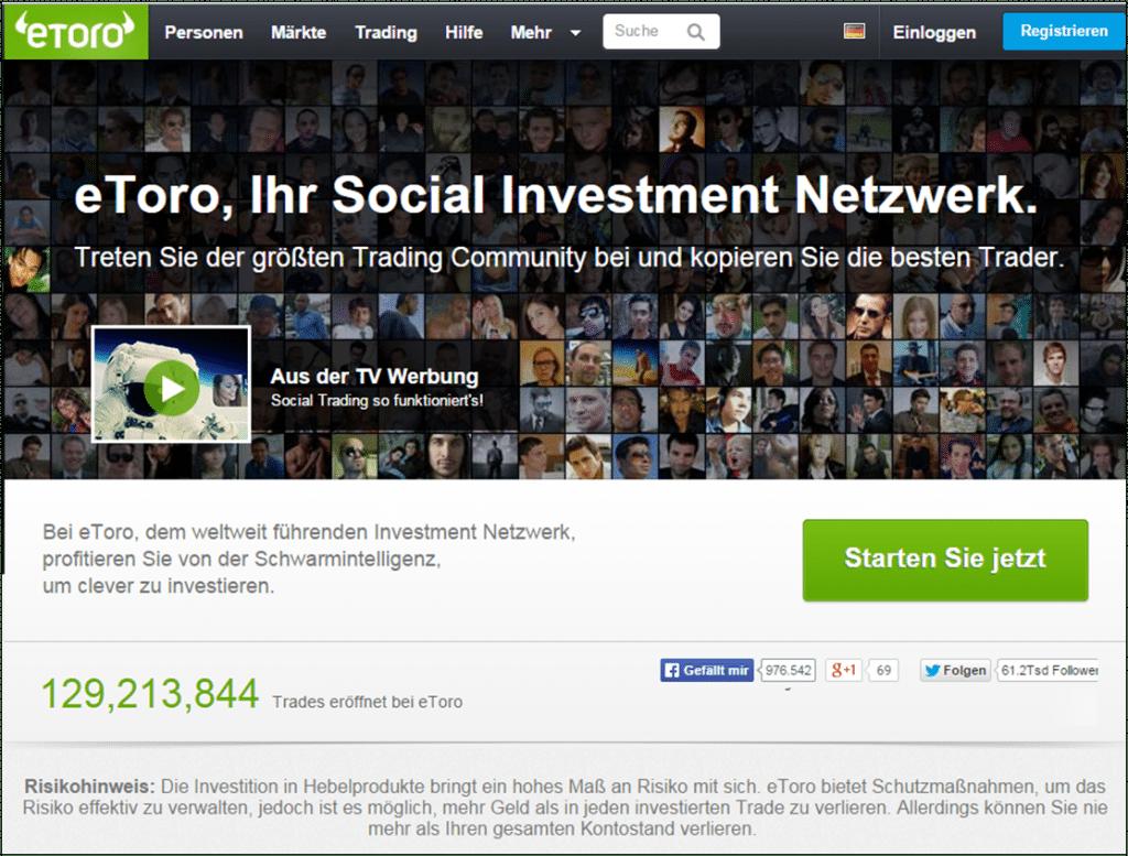 Kunden handeln bei eToro über das OpenBook, den WebTrader oder Mobile Trading Apps
