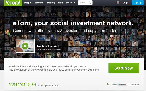 Die Webseite des Brokers eToro