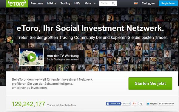 So sieht die Homepage des Social Trading Brokers eToro aus