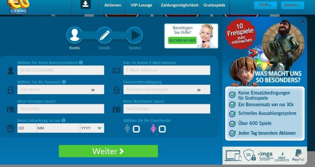 Neukunden-Anmeldeformular auf eucasino.com
