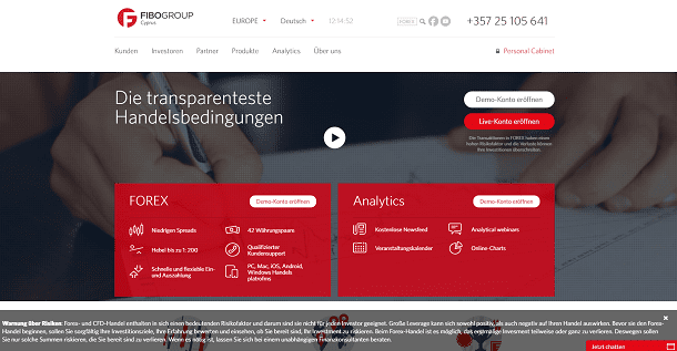 FIBO Group Webseite