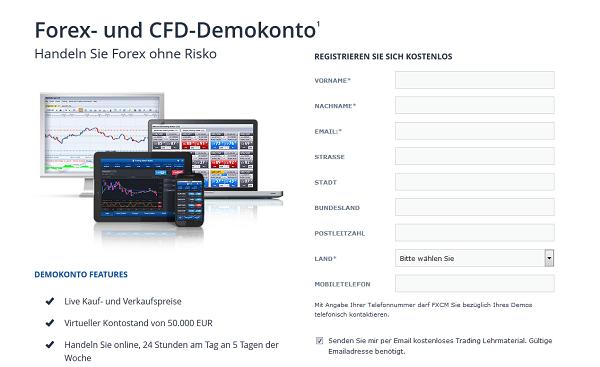 Für den FXCM Demo Account ist eine recht umfangreiche Registrierung notwendig