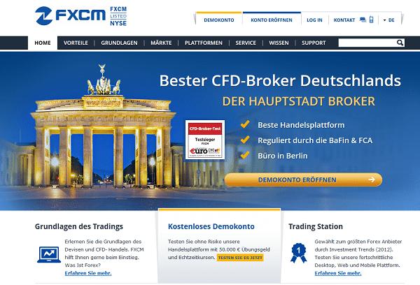 Der Webauftritt des Brokers FXCM
