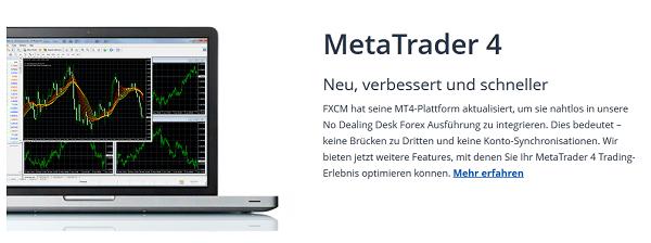 Auch bei FXCM wird der MetaTrader 4 Handel angeboten