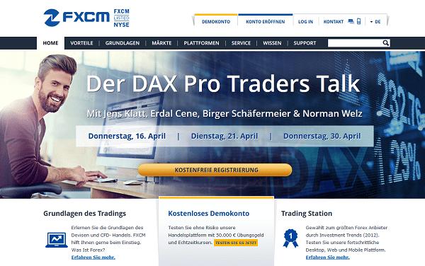 Die Webseite von FXCM