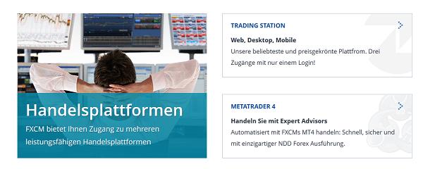 Bei FXCM sind mehrere Handelsplattformen zu finden