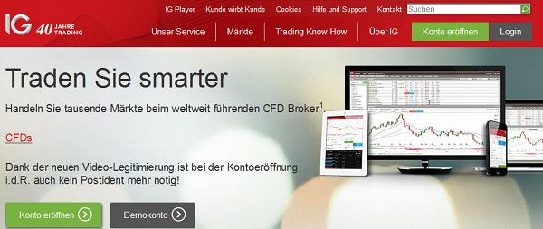 Webauftritt des Brokers IG