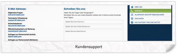 1xbet Support und Kundenkontakt