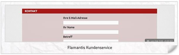Support Möglichkeiten beim Anbieter Flamantis