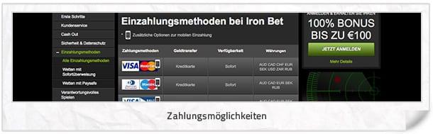Iron Bet Einzahlung und Auszahlung