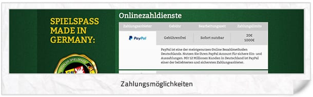 onlinecasino.de Zahlungsmethoden