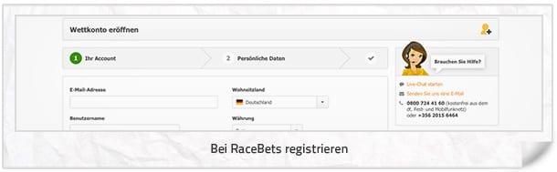 Racebett Anmeldung