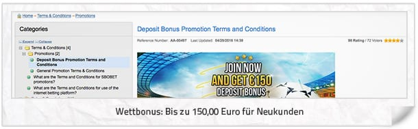 SBOBET Bonusangebot