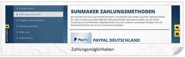 Sunmaker Zahlungsmethoden