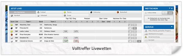 Livewetten Angebot bei Volltreffer.tv