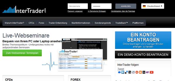 Der Webauftritt von InterTrader