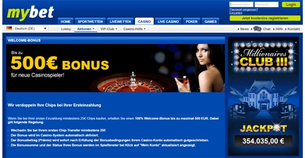 mybet Casino Willkommensbonus