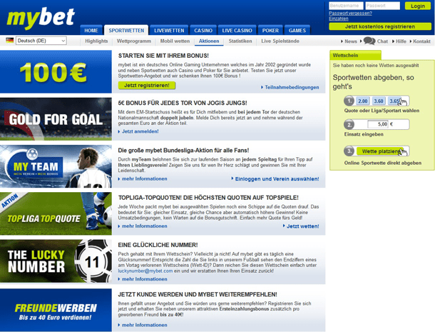 Screenshot mybet Bonusaktionen Überblick