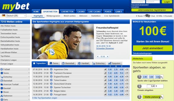 Screenshot Programm mybet Sportwetten