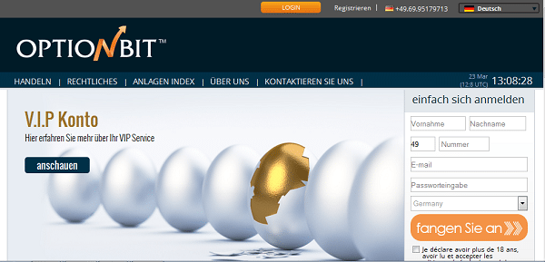 Die Homepage des Brokers OptionBit