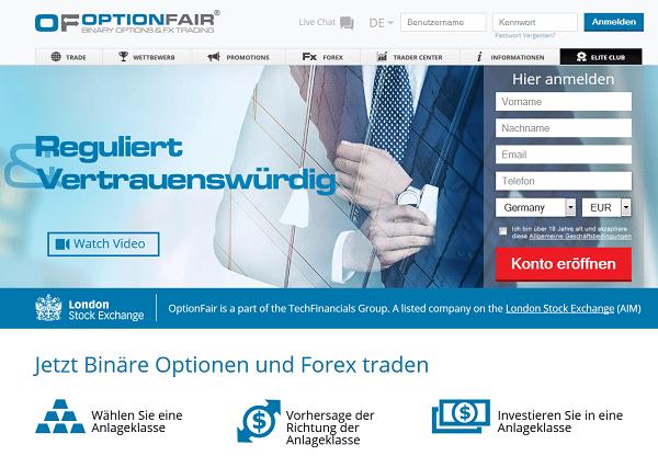 Die Webseite des Brokers OptionFair