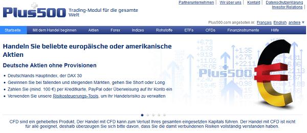 So sieht die Webseite des zypriotischen Brokers Plus500 aus