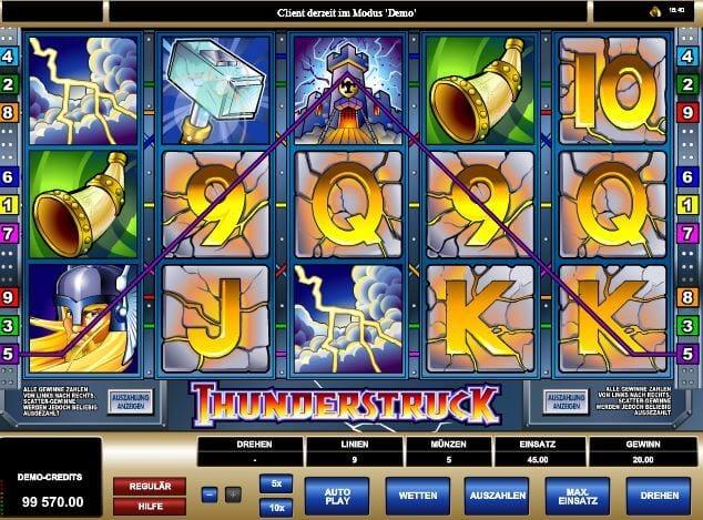 Spielgeld-Option für Thunderstruck bei mrgamez.net