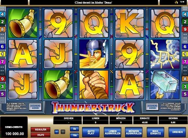 Online-Slot Thunderstruck mit Wikinger-Setting bei mrgamez.net